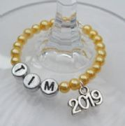 2019 Personalised Wine Glass Charm - Full Bead Style